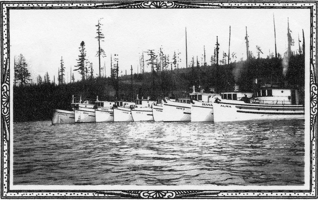 Holmes Harbor boats. Possible halibut fishing boats.