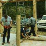 Constructing the log picnic shelter – Ric Collins, Dave Johnson, Ken Bloom, Bill Rhodes.