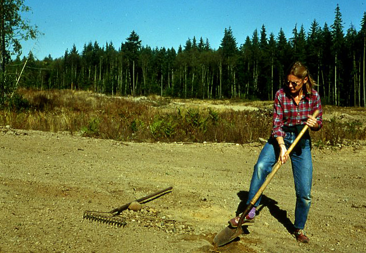 Lynn Willeford working on the cleanup of the community center site.